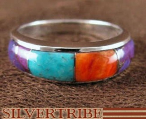 Sterling Silver Turquoise And Multicolor Inlay Ring Size 5-3/4 DS38439