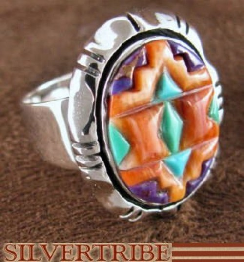 Sterling Silver Jewelry Turquoise Multicolor Ring Size 6-1/2 DS38826