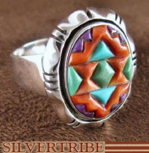 Turquoise Multicolor Inlay Sterling Silver Ring Size 9-3/4 DS38832