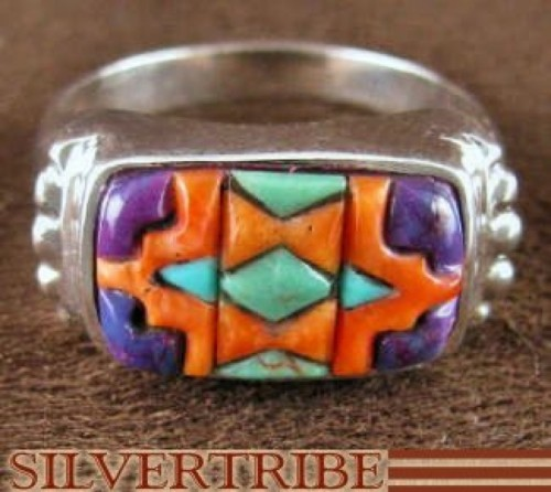Sterling Silver Turquoise And Multicolor Inlay Ring Size 7-3/4 NS38664