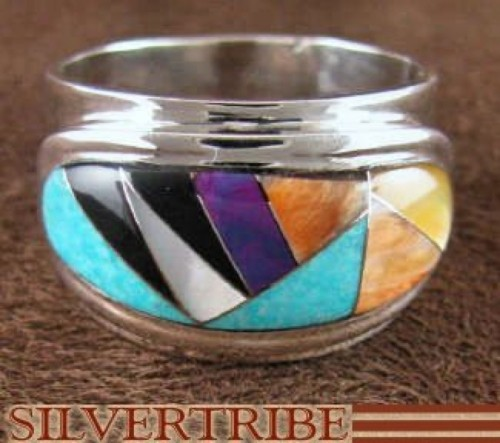 Sterling Silver Turquoise Multicolor Inlay Ring Size 8-1/4 NS38824