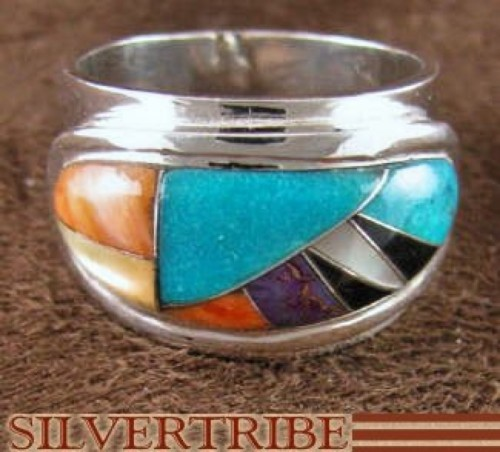 Multicolor Inlay Genuine Sterling Silver Ring Size 8-1/4 NS38857