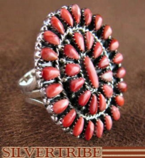 Sterling Silver Jewelry Red Oyster Shell Ring Size 8-1/4 RS38974