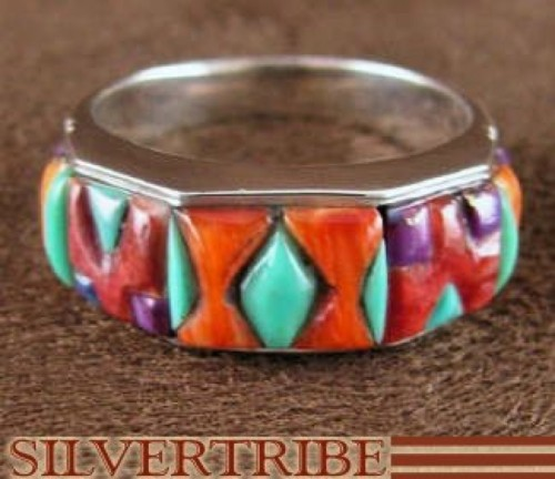 Multicolor Inlay Jewelry Sterling Silver Ring Size 8-3/4 RS38539