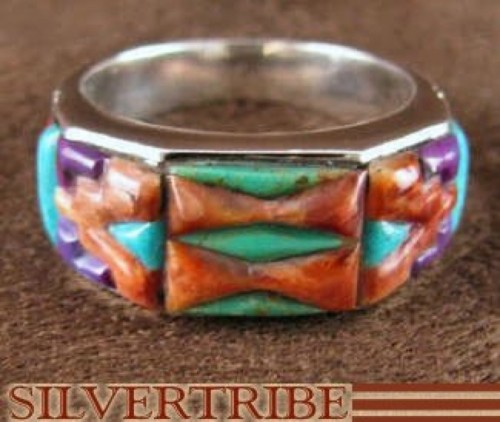 Turquoise Multicolor Jewelry Sterling Silver Ring Size 6-1/2 RS38542