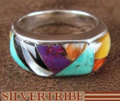 Multicolor Turquoise Jewelry Sterling Silver Ring Size 6-3/4 RS38556
