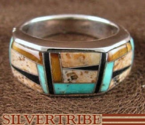 Tiger Eye Turquoise Multicolor Silver Ring Size 5-3/4 RS38611