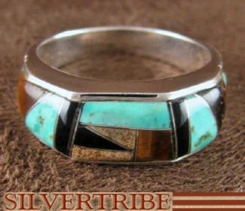 Turquoise Multicolor Inlay Sterling Silver Ring Size 7-1/2 RS38612
