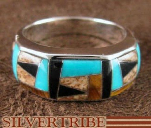 Silver Jewelry Tiger Eye And Multicolor Ring Size 5-3/4 RS38626