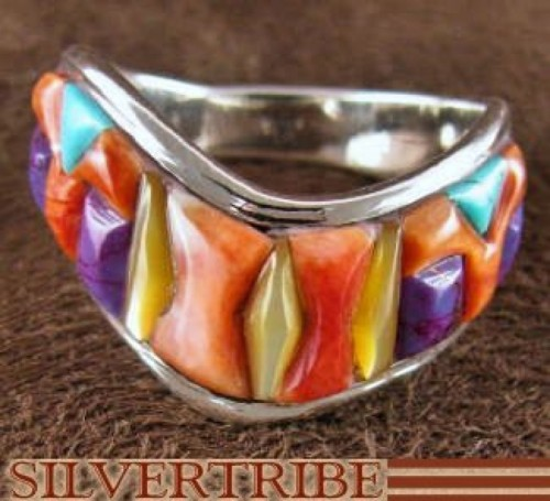 Sterling Silver Multicolor Turquoise Jewelry Ring Size 9-1/2 RS42230