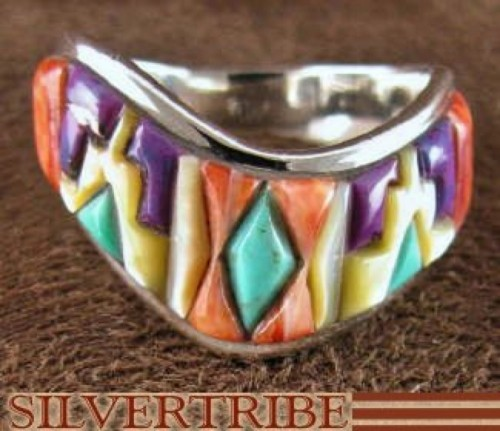 Silver Multicolor Magenta Turquoise Jewelry Ring Size 6-1/4 RS42236