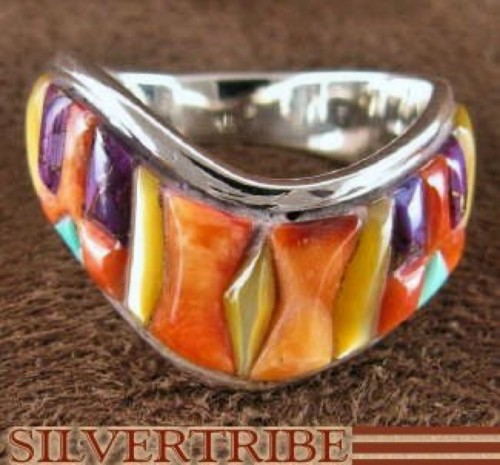 Sterling Silver Multicolor Oyster Shell Inlay Ring Size 7-1/2 RS42248