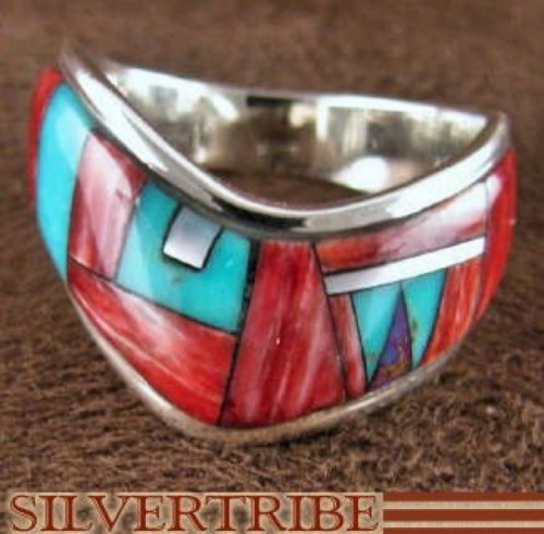 Turquoise Multicolor And Sterling Silver Ring Size 8-1/2 RS42277