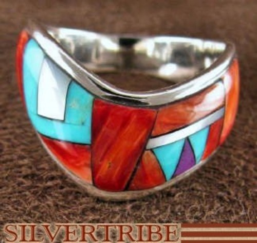 Multicolor Inlay And Sterling Silver Ring Size 8-1/4 RS42282