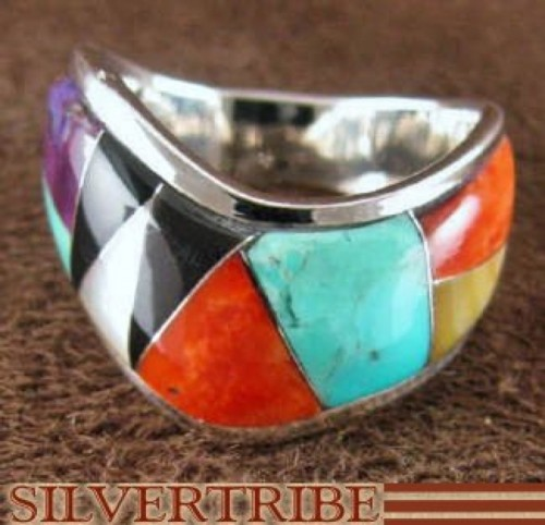 Multicolor Inlay Authentic Sterling Silver Ring Size 6-1/2 RS42303