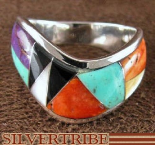 Multicolor Inlay and Silver Ring Size 6-1/2 RS42316