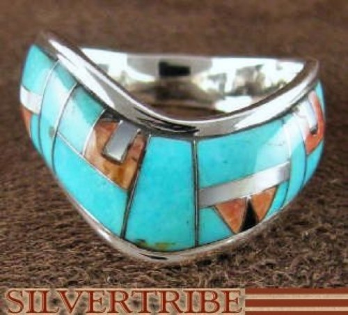 Sterling Silver Jewelry Turquoise Multicolor Ring Size 6-1/2 RS42331