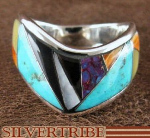 Sterling Silver Turquoise Multicolor Inlay Ring Size 7-1/4 RS42406