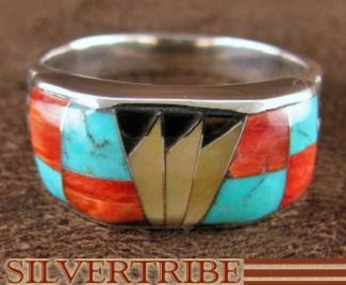Multicolor Inlay Genuine Sterling Silver Ring Size 9-1/2 AS41798