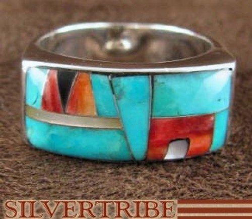 Oyster Shell Multicolor Inlay Sterling Silver Ring Size 6-1/4 AS41333