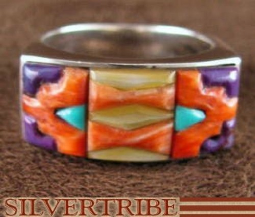 Multicolor Turquoise Genuine Sterling Silver Ring Size 8-1/2 AS41268