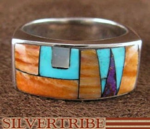 Multicolor Inlay Jewelry Sterling Silver Ring Size 6-1/2 AS41388