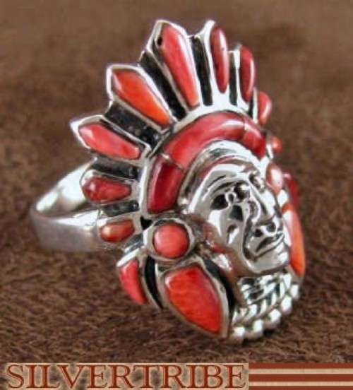 Red Oyster Shell Silver Chief Head Ring Size 8-1/2 Jewelry NS42774