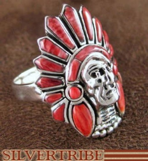 Red Oyster Shell Inlay Silver Chief Head Ring Size 12-1/2 NS43329
