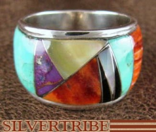Sterling Silver Turquoise Multicolor Inlay Ring Size 7-1/2 DS42187