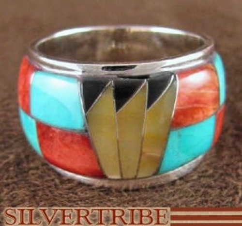 Sterling Silver And Multicolor Inlay Ring Size 6-3/4 DS42347