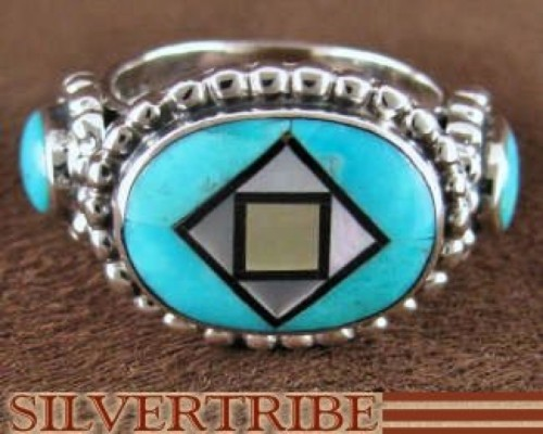 Turquoise And Multicolor Inlay Sterling Silver Ring Size 8-3/4 AS42839