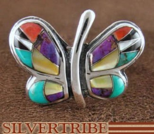 Turquoise Multicolor Sterling Silver Butterfly Ring Size 6-3/4 AS42960