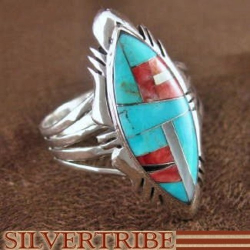 Sterling Silver Turquoise Multicolor Ring Jewelry Size 7-3/4 RS41151