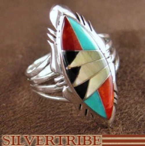 Sterling Silver Multicolor Turquoise Jewelry Ring Size 7-3/4 RS41161