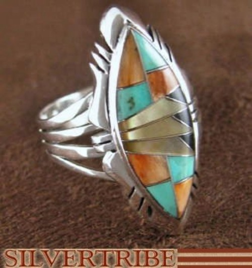 Turquoise Multicolor Sterling Silver Ring Jewelry Size 7-1/4 RS41168