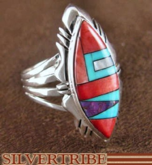 Sterling Silver Multicolor Turquoise Inlay Ring Size 7-3/4 RS41233