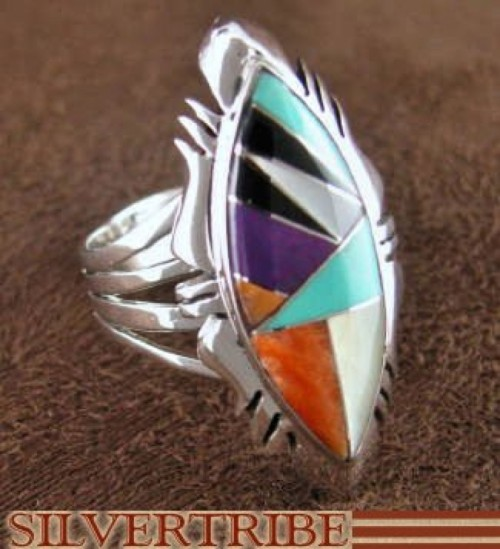 Mother Of Pearl Multicolor Sterling Silver Ring Size 6-3/4 RS41290