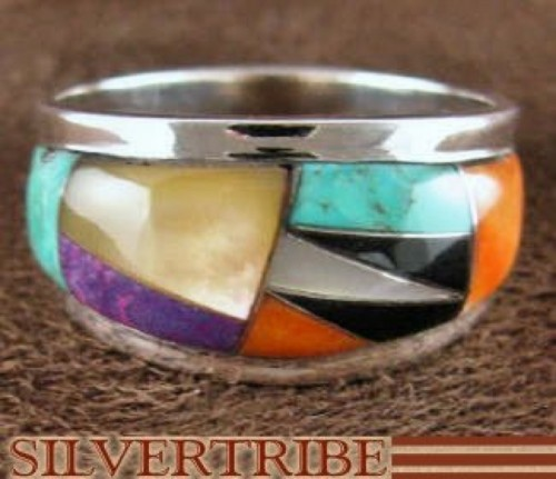 Multicolor Inlay Jewelry Sterling Silver Ring Size 6-1/2 RS43136