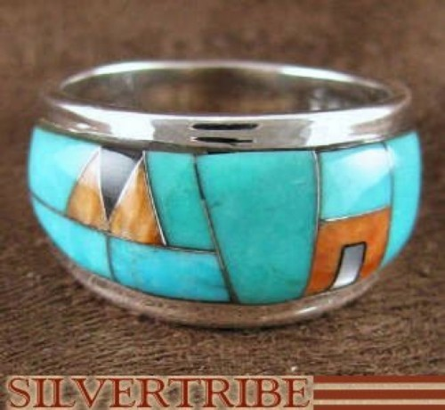 Turquoise And Multicolor Inlay Sterling Silver Ring Size 6-1/4 RS43283