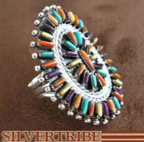 Turquoise Multicolor Authentic Sterling Silver Ring Size 8-1/4 RS41675