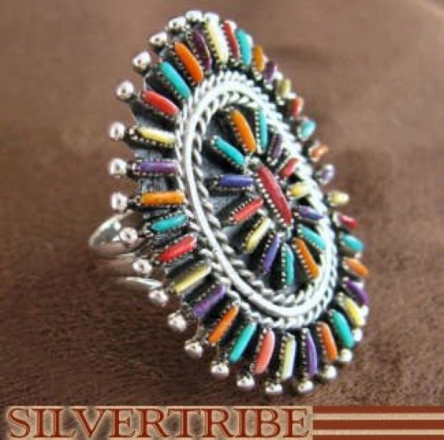 Multicolor Turquoise Sterling Silver Silver Ring Size 6-1/4 RS41680