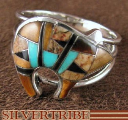 Tiger Eye And Multicolor Sterling Silver Bear Ring Size 8-1/2 DS44606
