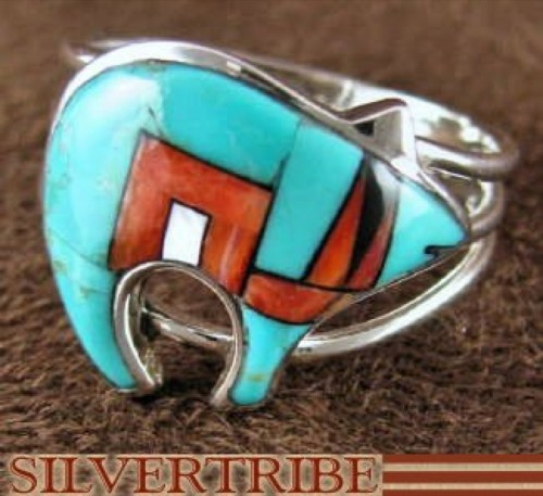 Multicolor Inlay And Sterling Silver Bear Ring Size 6-1/2 AS43289