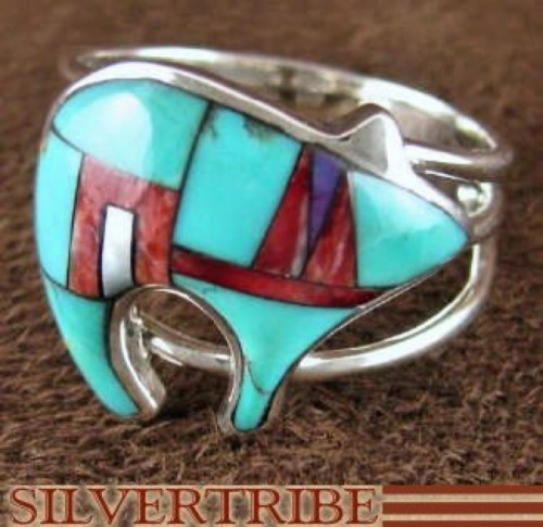 Multicolor Inlay Sterling Silver Bear Ring Size 8-1/2 AS43310