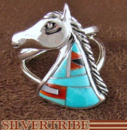 Sterling Silver Multicolor Inlay Horse Ring Size 6-1/2 Jewelry AS43337