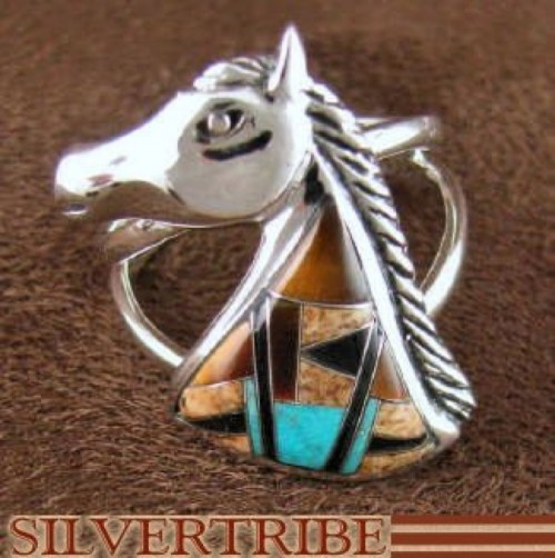 Multicolor Inlay Sterling Silver Horse Ring Size 6-3/4 Jewelry AS43351