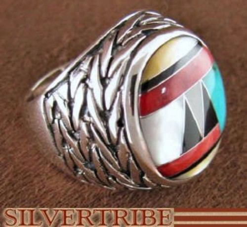 Authentic Silver And Multicolor Jewelry Ring Size 7-3/4 DS43712