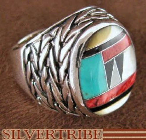 Multicolor And Genuine Sterling Silver Ring Size 8-3/4 DS43724