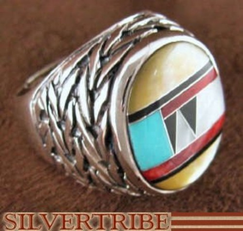 Genuine Sterling Silver And Multicolor Inlay Ring Size 7-1/2 DS43730