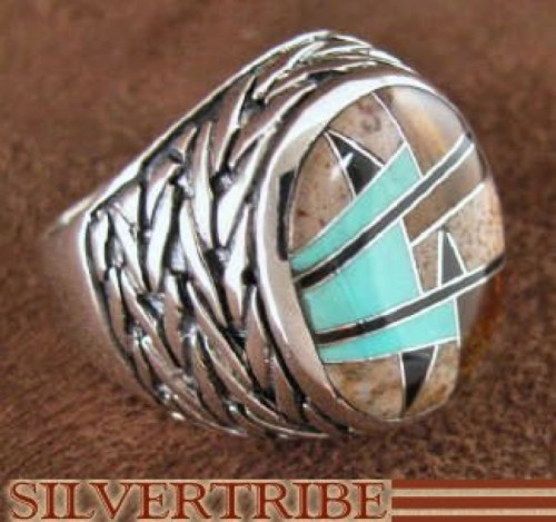 Authentic Sterling Silver Tiger Eye Multicolor Ring Size 7-3/4 DS43753